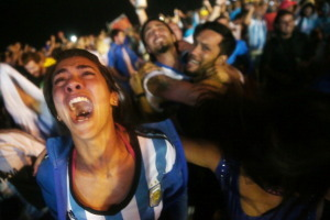 Football Fans Gather On Beach In Rio To Watch Argentina v Netherlands Semifinal Match